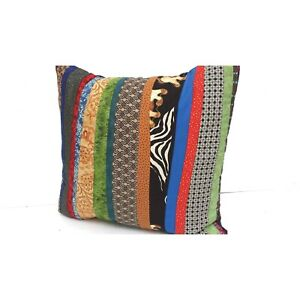 Strip Pieced Rustic Pillow ,Earthtones Muted Color Country New Handmade