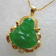 """Green Jade 18KGP Buddha Pendant and 18"""" Necklace"""