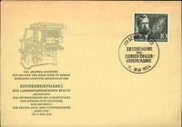1954 BERLIN Erstausgabe Mergenthaler Gedenkmarke Sonderstempel auf amtl. Brief