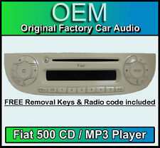 Fiat 500 CD MP3 player, Fiat 500 car stereo Cream colour with radio code & keys
