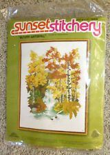 Sunset Stitchery Designs Kit  2471 Autumn Waterfall 16 x 20 1979 Wool Yarn NEW