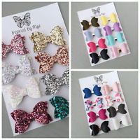 Baby Girl Newborn Toddler Leather Small Bow Nylon Headband Piggy Tail Hair Clip