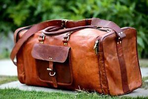 Men Large Capacity Leather Holdall Travel Gym Duffle Sports Cabin Weekend Bag UK