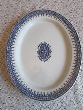 "Old Royal Worcester England Blue W-2088 Boston China 17"" Platter Medallion oval"