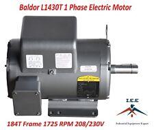 5 HP Single Phase Baldor Electric Compressor Motor 184T Frame # L1430T 230 Volt