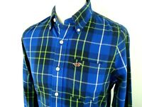 Hollister Mens Shirt Medium Casual L Sleeve Button Cuff  Collared Top Blue Check