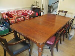 Antique Victorian Mahogany Extending Dining Table & 8 Chairs