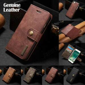 Retro Vintage Leather Card Pocket Wallet Case Cover For iPhone Samsung Huawei