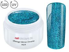 UV LED Effekt Gel MIRROR CHROME AQUA  Farb Color Feiner Glitzer Glitter Blau Tip