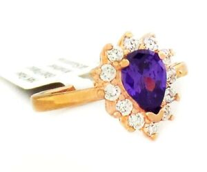 AMETHYST 0.79 Cts & WHITE SAPPHIRE RING 14K ROSE GOLDPLATED  ** New With Tag **
