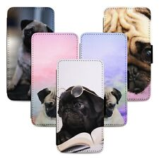Adorable Pug Dogs Flip Phone Case Cover Wallet - Fits Iphone 5 6 7 8 X 11