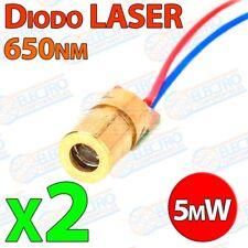 Diodo Laser ROJO 650nm 5mW 5v 6mm - Lote 2 unidades - Arduino Electronica DIY