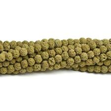 Lava Rock Stone Round Beads 8mm Dull Yellow 40+ Pcs Dyed  Gemstones Jewellery