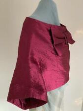 PRADA Fuchsia Wool Silk Blend Crinkled Gentle Sheen SHRUG with Bow  Sz 40 US 4
