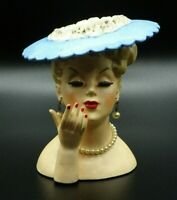 "Vtg 1958 Napco Woman Head Vase Blue Hat Pearl Earrings & Necklace 5 1/2""  C3307A"