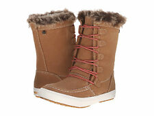 New $89 ROXY PORTER TAN BROWN FAUX SUEDE FUR LACE UP BOOTS WOMENS 9