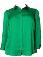 INC International Concepts Women's Green LS Button-Up Blouse Top Plus Sz 1X NWT