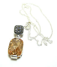 """NEW 18"""" Sterling Silver Citrine Solitaire & Marcasite Open Work Pendant Necklace"""