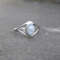 Rainbow moonstone Solid 925 Sterling Silver Anxiety Ring Meditation Ring SR011