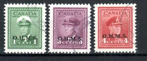 Canada 1949 Officials OHMS opt values to 4c FU CDS