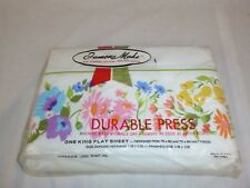 NOS Vtg Durable Press KING Flat Sheet Multi Color Floral Border Edge 50/50