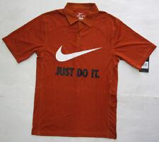 Men's Nike Just Do It Polo Shirt, New Desert Orange White Sport Dri-Fit Shirt S