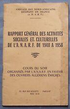 ANARF Rapport Général Activités Sociales Culturelles de 1948 à 1958 L. ROUANI BE
