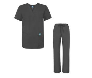 Adar 701 Medical Nursing Doctor Scrub Set Uniform Shirt & Pants Pewter Medium