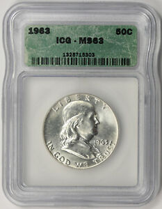 1963 Franklin Half Dollar Silver 50C MS 63 ICG