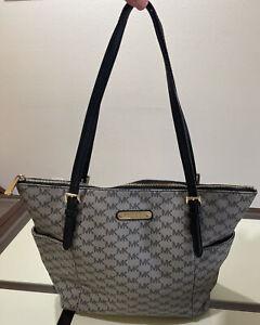 Michael Kors MK Logo Jet Set Grey Shoulder Purse Handbag