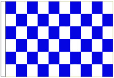 Royal Blue And White Check 5' x 3' Large Sleeved Flag