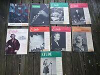Antique Magazine THE ETUDE 1950's LOT of 9 Sheet Music Bob Jones University +++