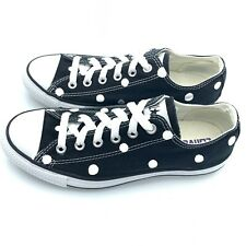 Converse Women 9 Men 7 BLACK Polka Dot Chuck Taylor All-Star Shoes M9166