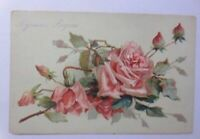 """ Birthday, Flowers, Roses "" 1908, Embossed Postcard (56404)"