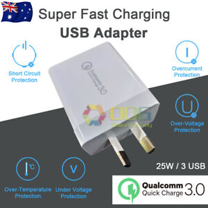 Qualcomm 25W Quick Charge QC 3.0  AU Plug Wall Charger 3 USB For Iphone ipad