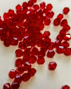 100 PCS 2mm DARK RED Siam Bicone Faceted Crystal Glass Spacer Beads