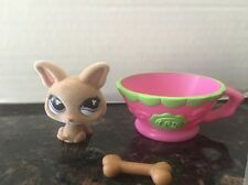 Littlest Pet Shop LPS Fuzzy Chihuahua Dog w/ Bone Pink Tea Cup RETIRED 461 EUC