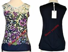 Ted Baker London Dark Blue Fatile Enchantment Vest Tee Top Size 3 (US 8) $95