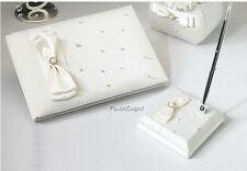 Ivory Pearl Guest Book and Pen Wedding Book Guest Book