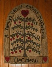 """PRIMITIVE HOOKED RUG PATTERN ON LINEN """"FAMILY TREE"""""""