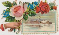 CHROMO/DECOUPI- MAIN DE FEMME avec BOUQUET DE ROSES-PAYSAGE D HIVER ENNEIGE