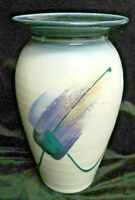 "USA Artist Signed Studio Art Pottery High Glaze Mark Untener 8 1/2"" Ceramic Vase"