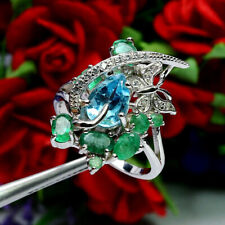 NATURAL 6 X 9 mm. SKY BLUE TOPAZ GREEN EMERALD & CZ RING 925 STERLING SILVER