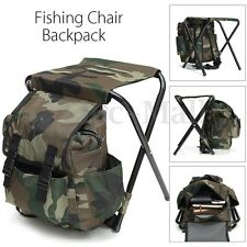 Foldable Fishing Chair Stool Travel Camping Hiking Multi-Function Backpack Bag
