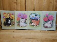 Set 4 Cats Kittens Flowers Lithographs from B.P. Co, 1973 K Chin Vintage 1970s