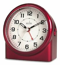Acctim Central Clock non ticking Alarm in Metallic Red Case (our ref 4ROBP)