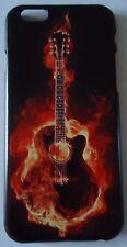 BURNING ACOUSTIC GUITAR HARD COVER CASE FOR I- PHONE 6.