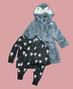 Kids Boys Penguin Pyjamas PJS Dressing Gown 3 Piece Set Age 1 - 8 Years (F1)