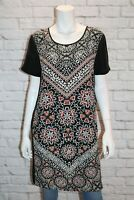 Katchel Brand Woman's Black Multi Silk Short Sleeve Shift Dress Size 12 #AN02