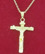 Stainless Steel Gold Silver Jesus INRI Crucifix 3D Cross Pendant Chain Necklace